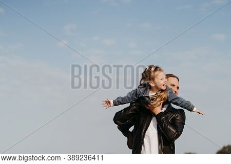 Dad And Daughter. Fatherhood, Family Concept. Loving Father Having Fun Spending Time With His Little