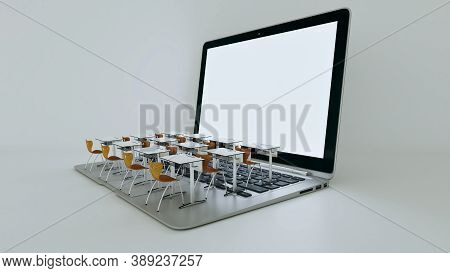 Digital Classroom Concept For Online Education. Modern Classroom Desks On The Laptops Keyboard. Soci