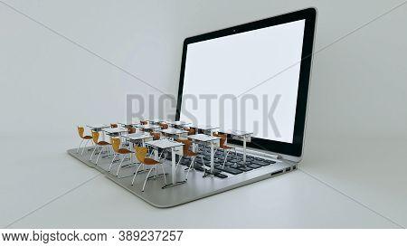 Digital Classroom Concept For Online Education. Modern Classroom Desks On The Laptops Keyboard. Soci