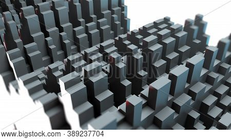 Waveform Rows With Long Rectangles, Computer Generated. 3d Rendering Of Abstract Background