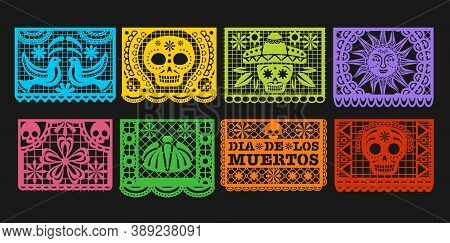 Paper Flags, Vector Mexican Day Of The Dead Papel Picado Bunting. Mexico Dia De Los Muertos Or Hallo