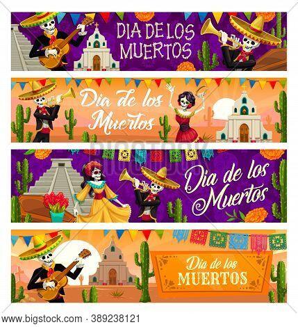 Dia De Los Muertos Skeleton Vector Banners Of Mexican Day Of The Dead Holiday. Catrina Calavera And