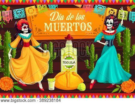Mexican Day Of The Dead Dancing Catrina Skeletons. Vector Dia De Los Muertos Skeleton Dancers With C