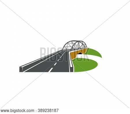 Speedway Road With Bridge Overpass Icon. Modern Driveway, Highway Or Freeway With Level Junction And
