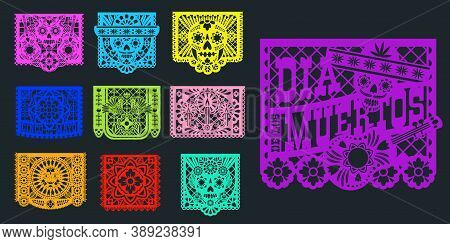 Papel Picado, Mexican Paper Banners And Pecked Flags, Vector. Mexico Fiesta Decoration Papel Picado