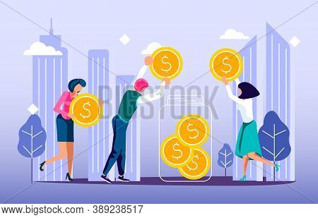 Concept Of Donation Of Money And Volunteering In The City. Tiny People Neighbors Collect Coins To Ma