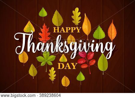 Happy Thanksgiving Day Vector Typography With Fallen Leaves On Wooden Background. Thanks Giving Cong
