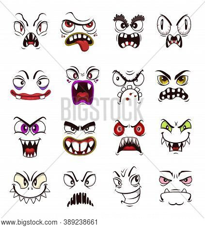 Monster Face Emoji Cartoon Vector Set With Scary Emoticons. Halloween Holiday Horror Monsters, Spook