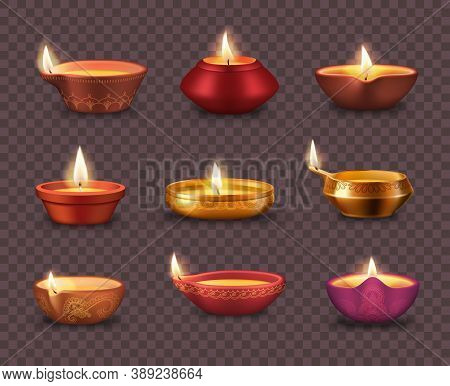Diwali Diya Lamps On Transparent Background Realistic Vector Set Of Deepavali Or Divali Light Festiv