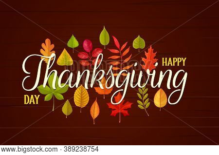 Happy Thanksgiving Day Vector Greeting Card With Autumn Fallen Leaves On Wooden Background. Thanks G