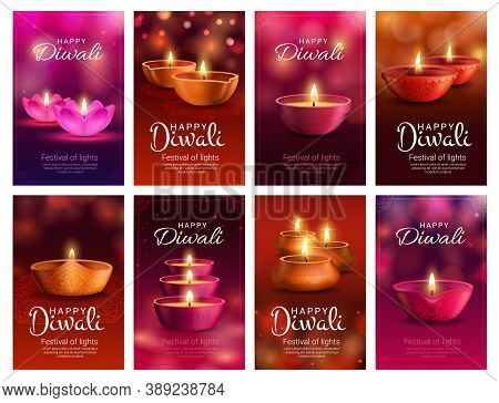 Diwali Or Deepavali Diya Lamp Vector Banners Of Indian Light Festival And Hindu Religion Holiday Gre