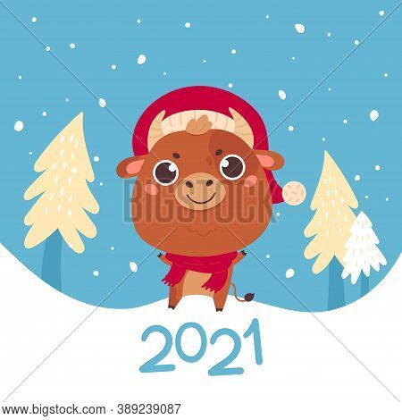Cute Cartoon Bull With The Christmas Tree. Design For Greeting Cards, Advertising, Banners, Prints.