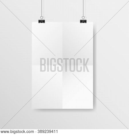 Poster Mockup. White Vertical Crumpled Paper With Clips. Realistic A4 Template Hanging On A Light Wa
