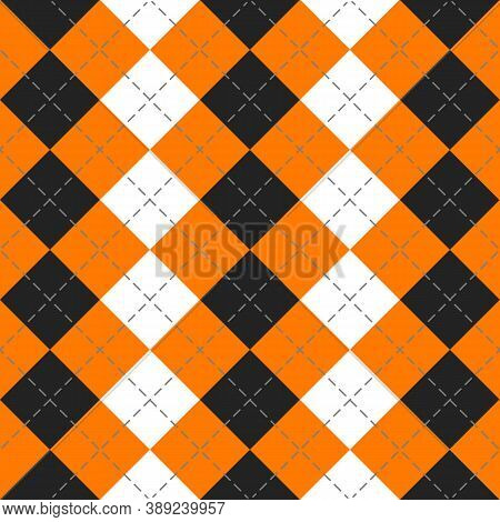 Halloween Argyle Plaid. Scottish Pattern In Orange, Black And White Rhombuses. Scottish Cage. Tradit