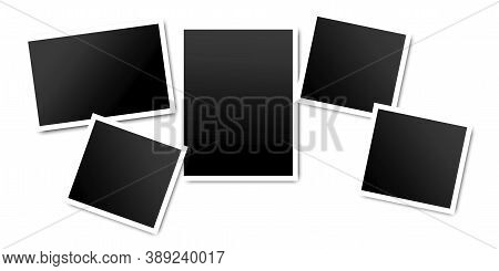 Photo Frame. Blank Black Photo. Set Of Black Photos With White Frames. Vector Illustration.