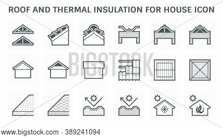 Roof Icon Consist Of Construction And Material Such As Roof Insulation, Tile, Truss, Structure Etc.