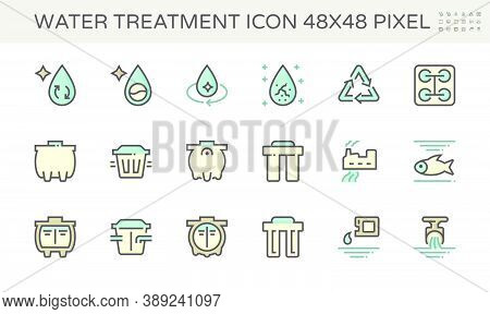 Water Treatment Plant And Wastewater Or Waste Water And Septic Tank Vector Icon Set. That Removes Se