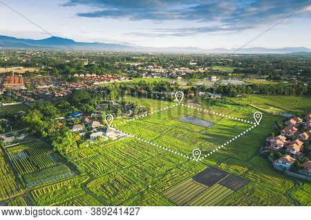 Land Plot Or Land Lot. Consist Of Aerial View Of Green Field, Position Point And Boundary Line To Sh