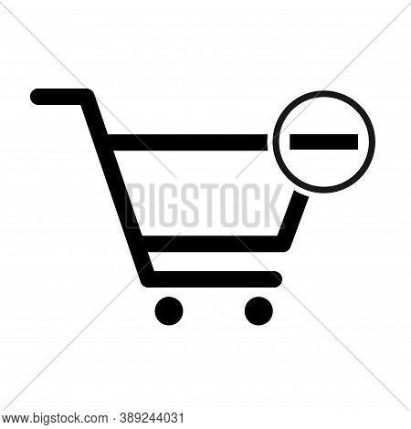 Shopping Minus Cart Sale Icon, Market Story Shop Vector Illustration Symbol Isolated On White Backgr