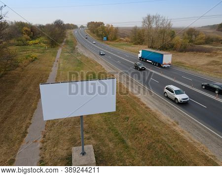 Blank commercial advertising billboard. Aerial view. Drone.
