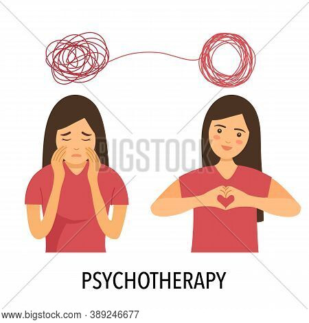 A Woman With Mental Problem Causes Sadness And Need Treatment In Order To Have A Good Mood. Psychoth
