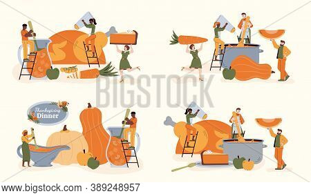 Thanksgiving Dinner Banners Set With Tiny People Preparing And Serving Thanksgiving Festive Holiday