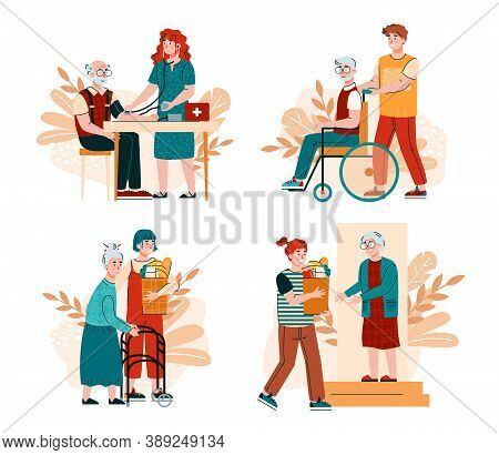 Social Workers Support, Help Old Person With Disabilities. Volunteers Take Care At Home Of Elderly,