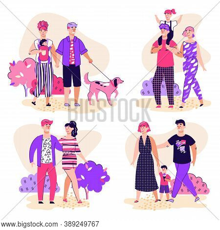 Family Walk In Park Scenes Set With Parents And Children, Couple In Love Spending Vacant Time Togeth