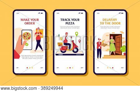 Restaurant Pizza Order And Delivery Mobile App Page Templates Set, Cartoon Vector Illustration. Ital