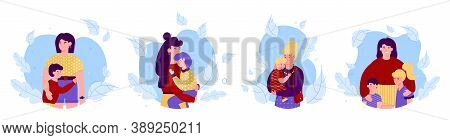 Happy Mother And Children Cartoon Characters Hugging And Embracing, Flat Vector Illustration Isolate