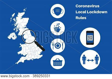 Uk Local Lockdown Rules Vector Infographic On A Blue Background.