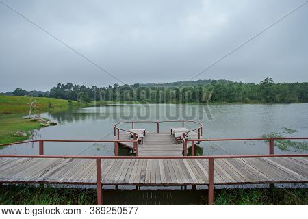 A Popular Photo Corner With Tourists On The Khao Yai Reservoir Of Thailand.