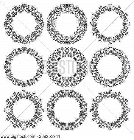 Vector Set Of Round Frames. Beautiful Elegant Abstract Floral Ornament.  Modern Linear Design, Fancy