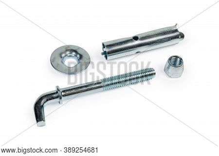 Anchor Bolt Wedge Type With Right Angle Hook With Zinc Coating Disassembled Into Component Parts On