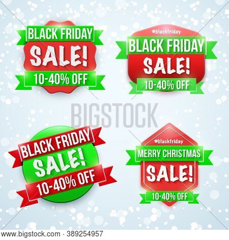 Black Friday Sale Badge Set. Labels For Advertisment Sale Campaign. Editable Vector Illustration Iso