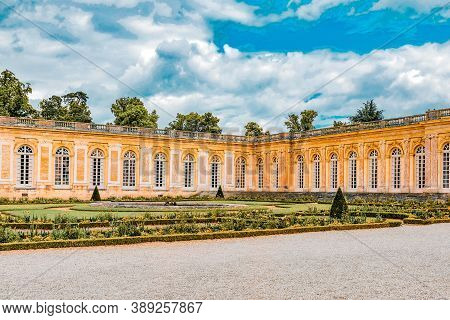 Versailles, France - July 02, 2016 : Grand Trianon-little Pink Marble And Porphyry Palace With Delig