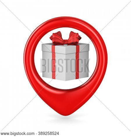white box with red bow into pointer on white background. Isolated 3D illustration