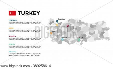 Turkey Vector Map Infographic Template. Slide Presentation. Istanbul, Izmir, Ankara, Antalya, Adana.