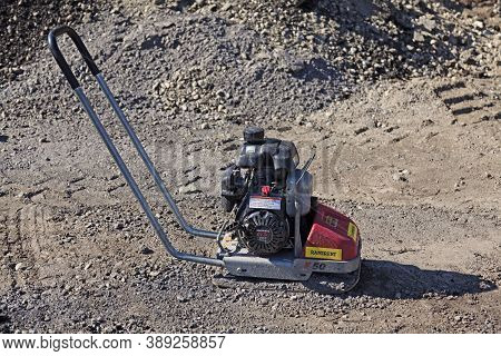 Umea, Norrland Sweden - April 14, 2020: Small Handheld Steamroller