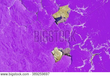 Texture background of magenta peeling paint, peeling paint texture. Grunge texture surface with magenta peeling paint. Close up of peeling paint texture on the texture background