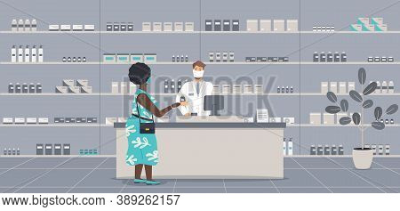 Pharmacy Interior With People During Virus Epidemic. Pharmacist In Face Mask Behind Counter Serve Pl