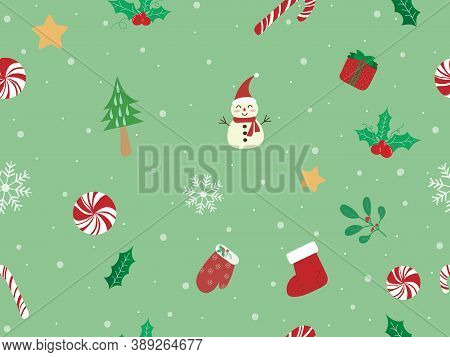 Sweet And Beautiful Christmas Seamless Pattern Background. Christmas Background With Candy Cane, Mis
