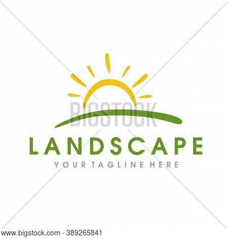 Landscape Hills Logo, Farm Logo, Mountain Peaks Vector Logo Design