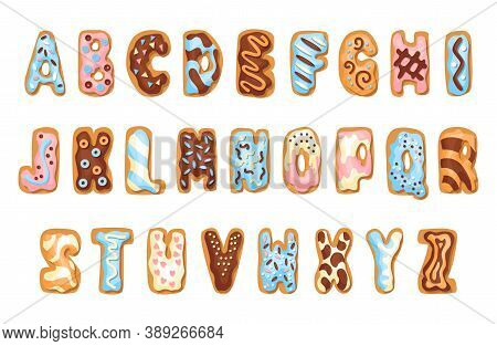 Cartoon Cookies Font Set. Confectioners Stylized Capital Letters Collection. Vector English Abc Baki
