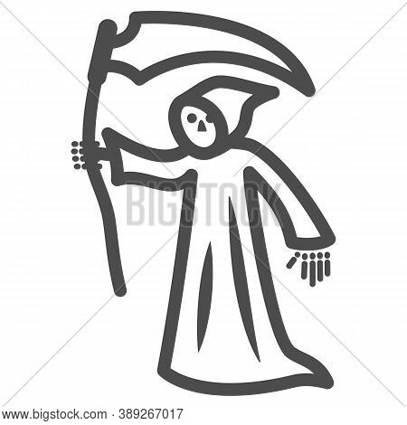 Grim Reaper Line Icon, Halloween Concept, Death With Scytheman Sign On White Background, Grim Reaper