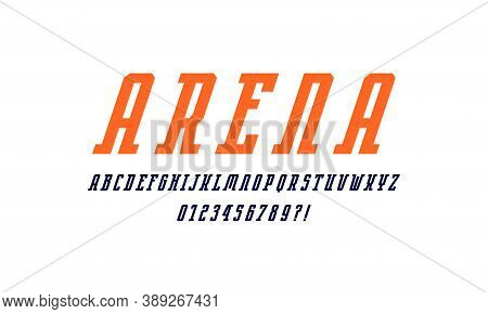 Oblique Narrow Serif Font In Sport Style. Letters And Numbers For Logo And Emblem Design. Color Prin