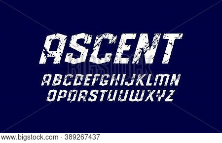 Oblique Sans Serif Font In Sport Style. Letters With Rough Texture For Logo And Emblem Design. White