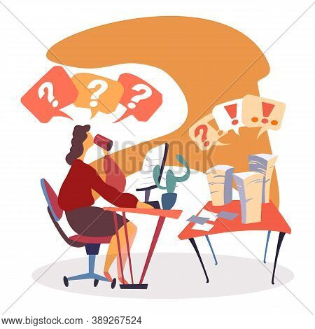 Manager Sitting By Table With Personal Computer Pc Vector. Flat Style Character Drinking Coffee Whil