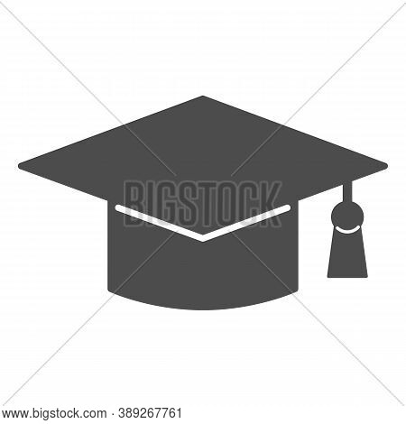 Academic Cap Solid Icon, Education Concept, Student Graduation Hat Sign On White Background, Graduat