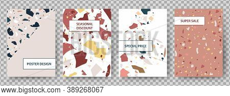 Terrazzo Poster. Broken Tiles Abstract Art Background. Stone Texture Discount Special Price Flyers.